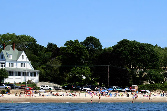 A view of Niles Beach in Gloucester MA from the water