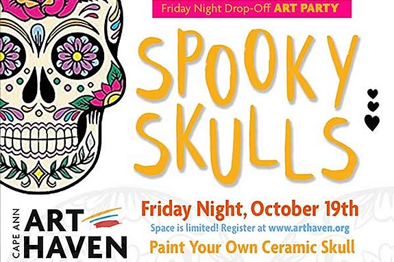 A friday night spooky skulls art party at Cape Ann Art Haven in Gloucester Massachusetts!
