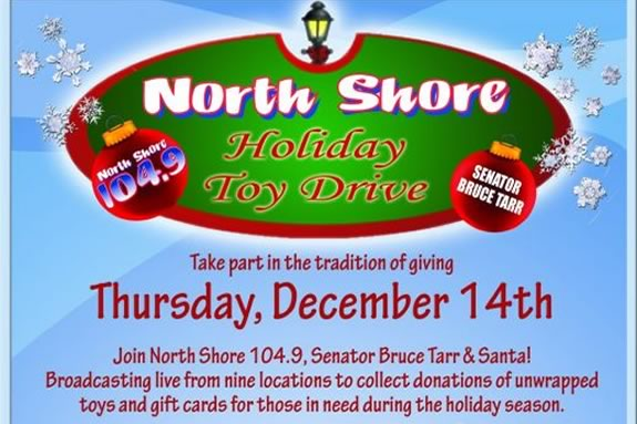 Senator Bruce Tarr & 104.9 FM encourage you to donate toys for kids in need!