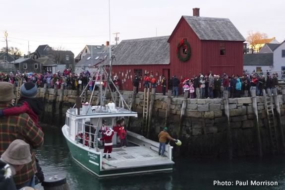 Santa Arrives in Rockport Harbor by Lobster Boat to kick off the Holiday Season!