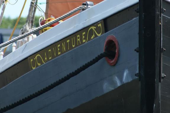 Schooner Adventure is tied up at Maritime Gloucester's wharf