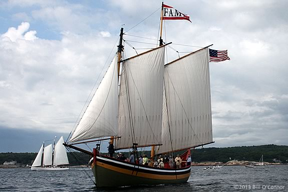 Schooner Fame pictured in the Parade of Sail in the Gloucester Schooner Festival