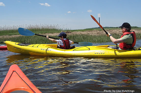 Kayaking basics are taught along with this family kayak exploration at Joppa