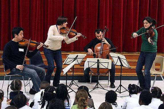 Join the Jupiter String Quartet in a game of musical 'hot potato' in Rockport