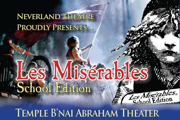 See Les Miserables performed by Neverland Theater at Temple B'Nai Abraham