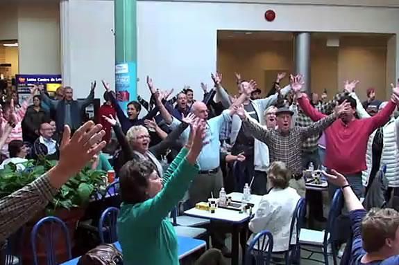 A Flash Mob Sings Handel's Messiah at a food court in Syracuse, NY