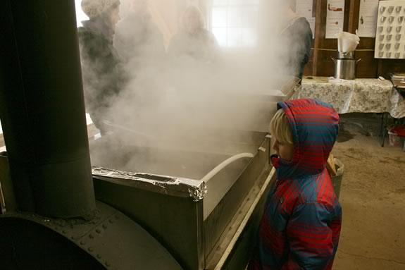B takes a look at the steaming maple sap at Appleton Farms' Sugar Shack!