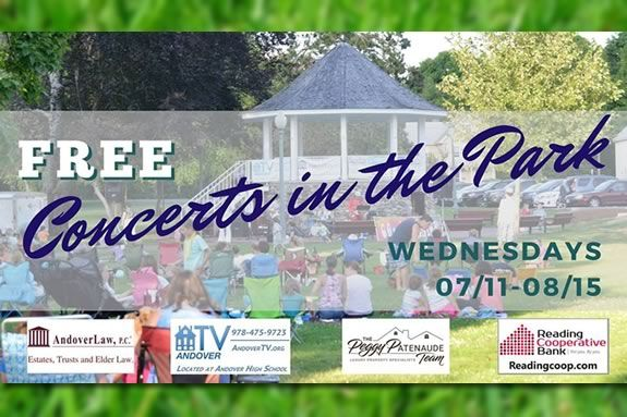 Enjoy free concerts in Central Parks in Andover Massachusetts