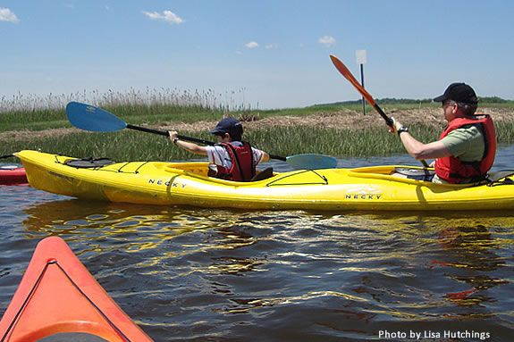 Kayaking basics are taught along with this family kayak exploration at Joppa
