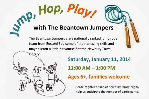 Kids will learn jump roping at the Newbury Town Library witht the Beantown Jump!