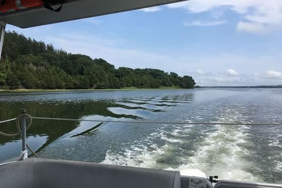 Tour the waters of Essex Bay estuary aboard the Trustee's pontoon boat Osprey!