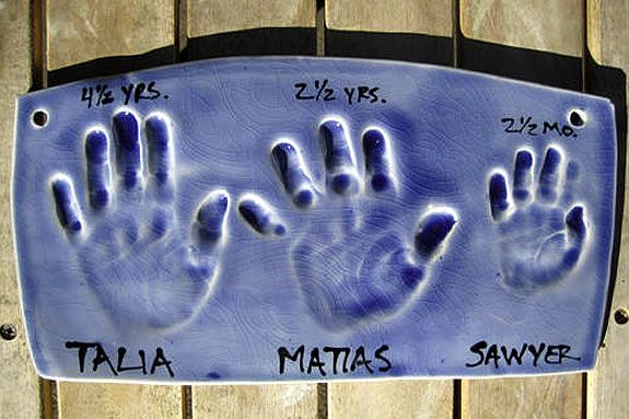 Get handprints and/or footprints done in clay as a gift, or just as a treasure.