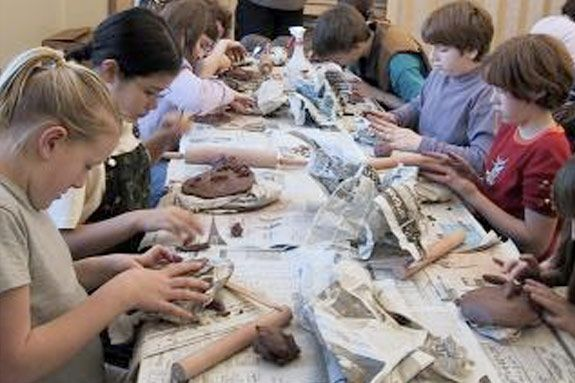 Clay sculpting for north shore children with Ann McCrea at the Manchester Librar