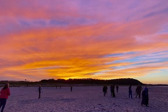 Come to a twilight bonfire at Crane Beach in Ipswich Massachusetts