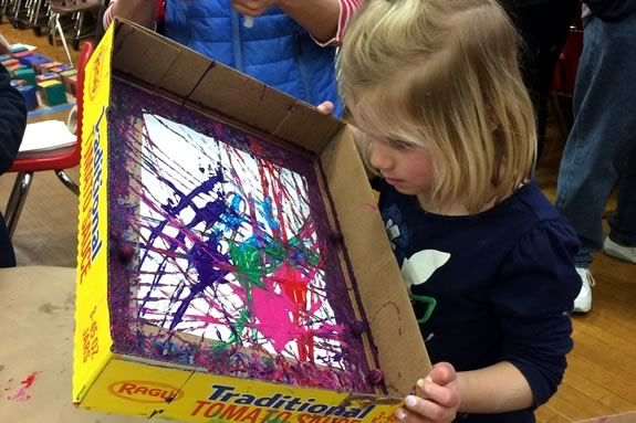 Messy Art Night at Essex Elementary School, February 10, 2017