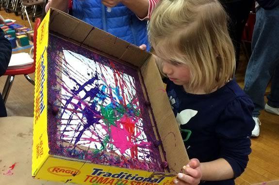 Messy Art Night at Essex Elementary School, February 10, 2017