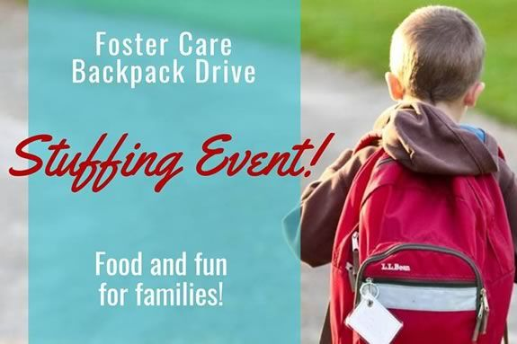 Come help stuff backpacks for foster children in need in Massachusetts!
