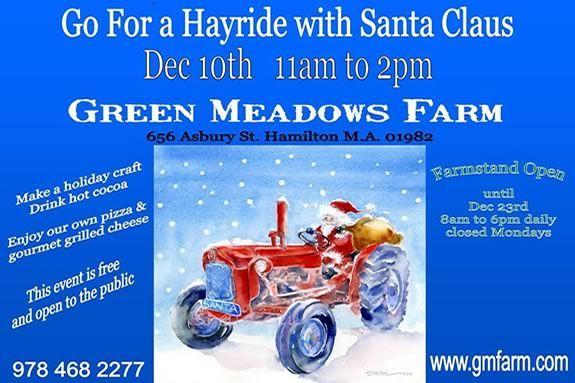 Come celebrate the Holidays with Santa at Green Meadows Farm in Hamilton, Massachusetts!