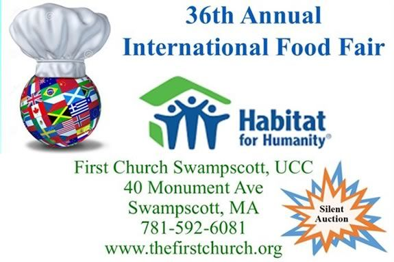 First Church in Swampscott's annual INTERNATIONAL FOOD FAIR raises fund for Habitat for Humanity