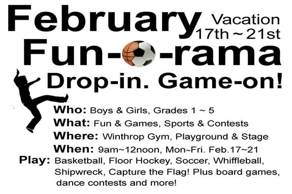 February Fun-O-Rama is open to kids in grades 1-5 during February Vacation week!