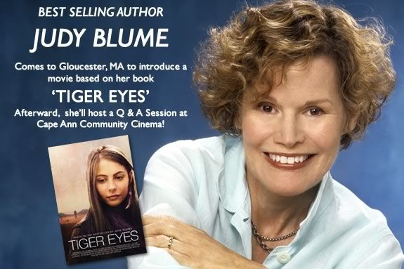 Best selling Author Judy Blum will be in Gloucester for a movie and Q&A session!