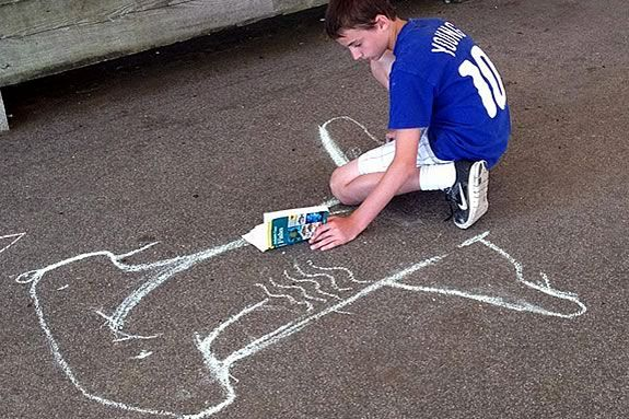Draw a life-sized shark in chalk at Maritime Gloucester!
