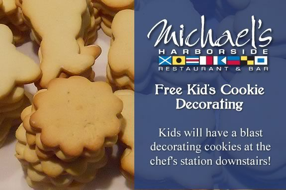 Kids are invited to come decorate cookies for the holidays at Michael's Harborsi