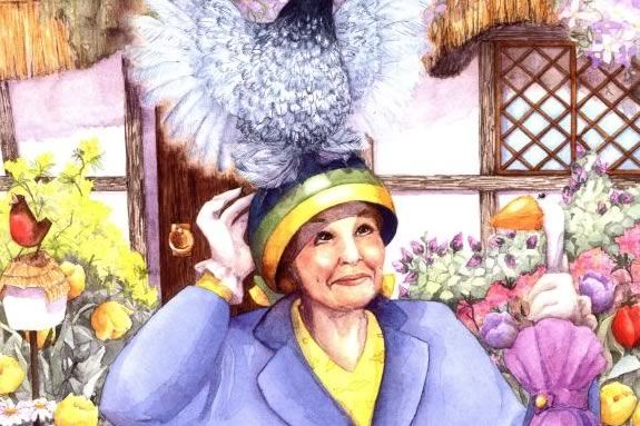 Miss Hunnicut wears a strange hat with a chicken on it for the queen's visit!