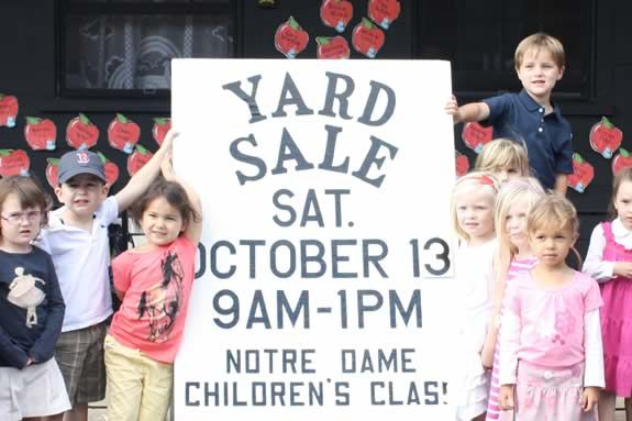 Notre Dame Children's Class Annual Yard Sale a charity fundraiser in Wenham.