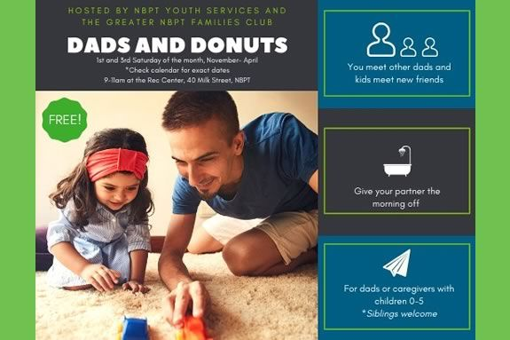 Newburyport Youth Services host a dads and donuts session where kids can play and dads can socialize