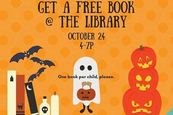Book or Treat!! The Main Library is giving away one free book to each child/teen who trick-or-treats at the Library as part of Nightmare on Main Street. Join us between 4-7PM on October 24th.