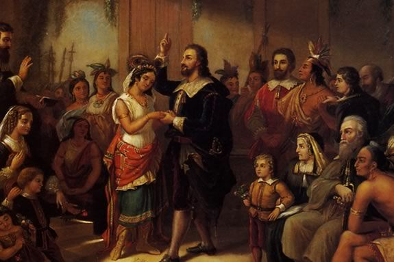 Pocohantas Marries John Rolfe by Henry Brueckner 1855