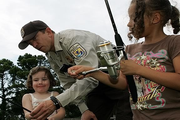 Kids will get instruction in fishing techniques from park personel.