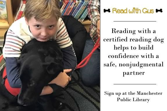 Kids will learn about Gus, a certified reading therapy dog, at the Manchester Public Library