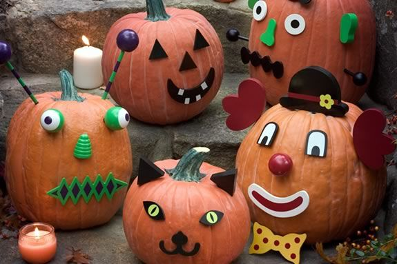 Pumpkin decorating for kids at Rowley Public Library. Photo: Hearthsong Wooden Pumkin Decorating Set