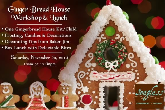 Gingerbread House workshop and lunch at SeaGlass Restaurant in Salisbury!