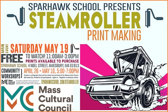 Steamroller Printmaking Workshop Sparhawk School - Amesbury