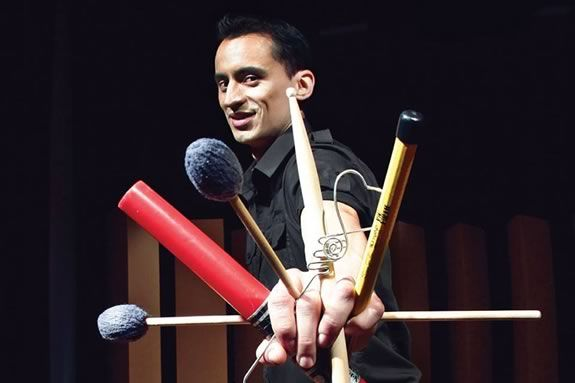 Percussionist Tupac Mantilla performs a free concert at Rockport Music's Shalin Liu Center for Performing Arts