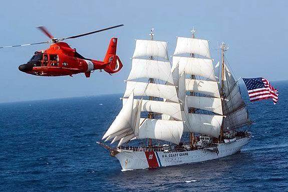 USCG United States Coast Gaurd Cutter Barque Eagle comes to Salem Massachusetts!
