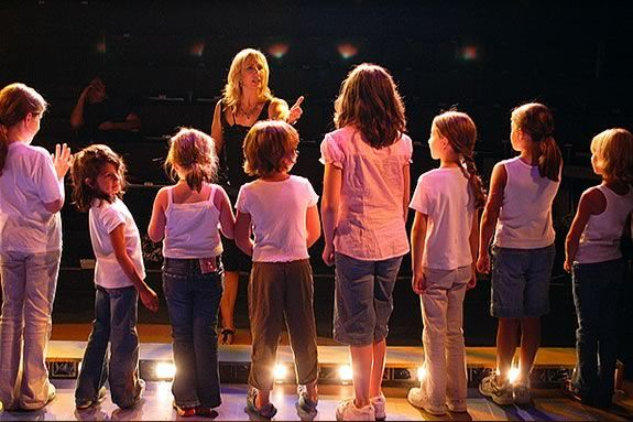 Heidi Dallin directs her youth acting workshop students at the Gloucester Stage