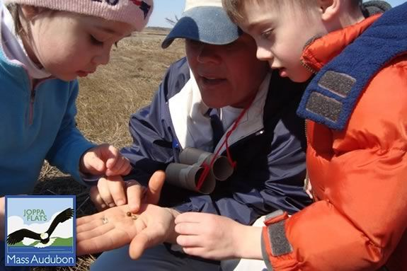 Lisa Hutchings of Mass Audubon Joppa Flats Education Center teaches children with hands-on activities!