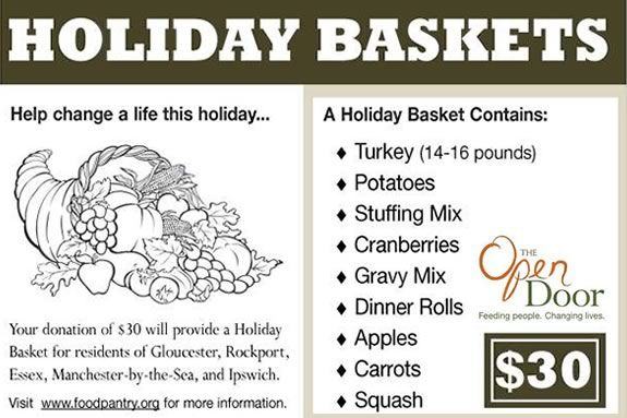 A $30 donation to the Open Door will provide a food basket containing all the fixings a family of four will need to prepare a festive holiday meal.
