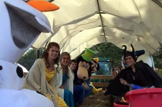 Trick or Treating by hayride at Marini Farm in Ipswich is Safe and Fun!